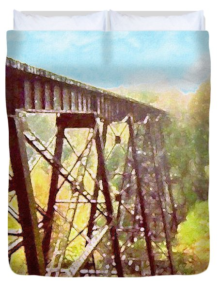 Duvet Cover featuring the digital art Train Trestle by Phil Perkins