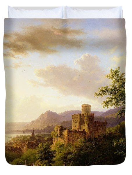 Travellers On A Path In An Extensive Rhineland Landscape Duvet Cover by Barend Cornelis Koekkoek