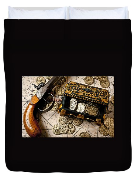Treasure Box With Old Pistol Duvet Cover by Garry Gay