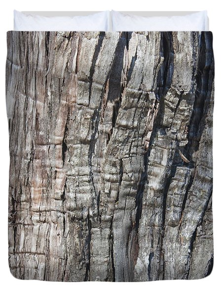 Duvet Cover featuring the photograph Tree Bark No. 1 Stress Lines by Lynn Palmer