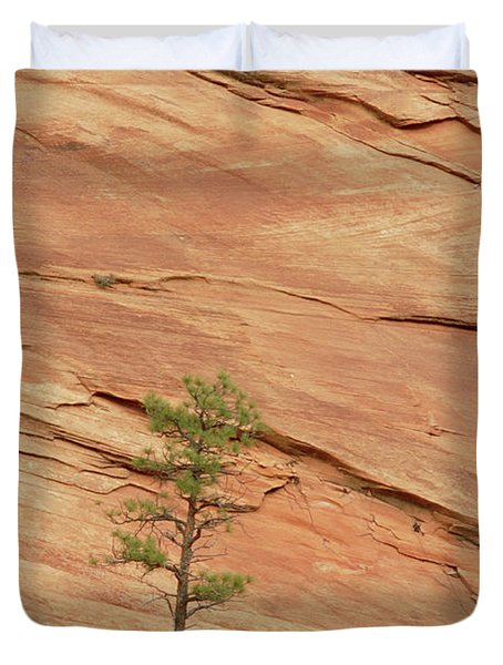 Tree Clinging To Sandstone Formation Duvet Cover by Gerry Ellis