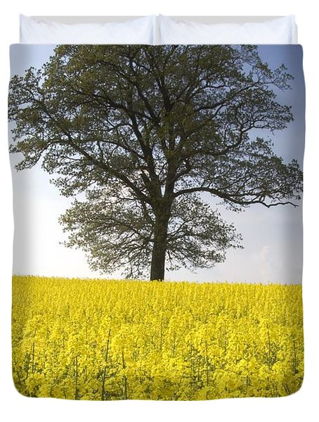 Tree In A Rapeseed Field, Yorkshire Duvet Cover by John Short
