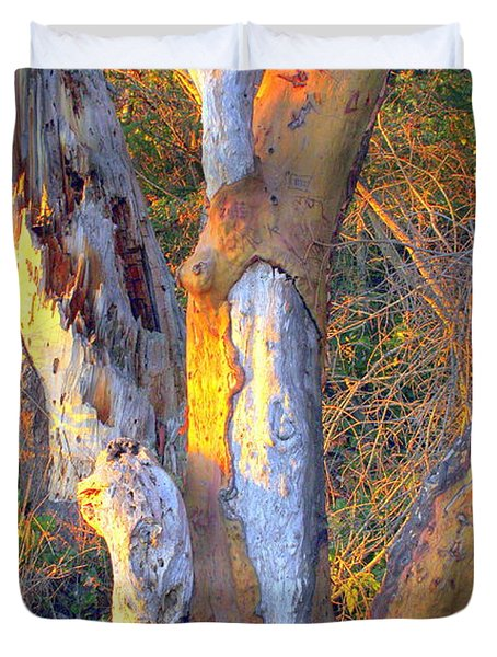 Tree In The Sunset Duvet Cover by Randall Thomas Stone