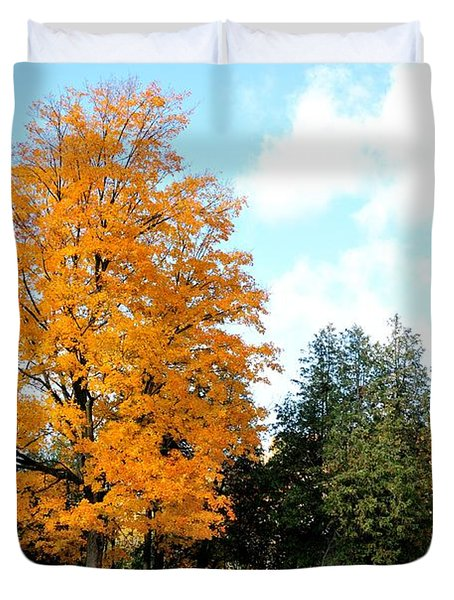 Duvet Cover featuring the photograph Tree Of Gold by Joe  Ng