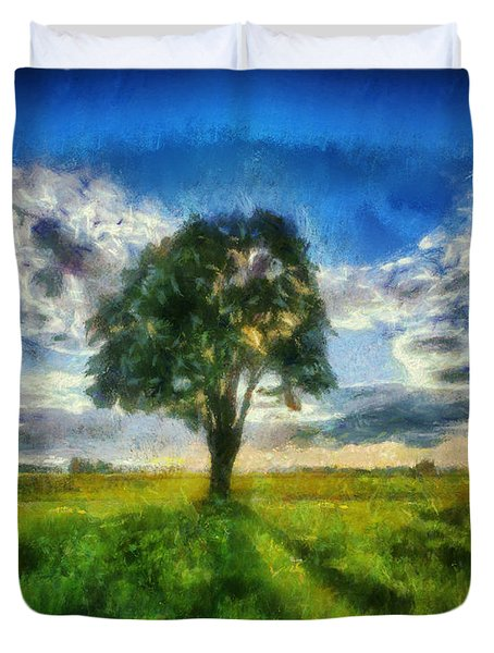 Duvet Cover featuring the painting Tree Of Life by Joe Misrasi