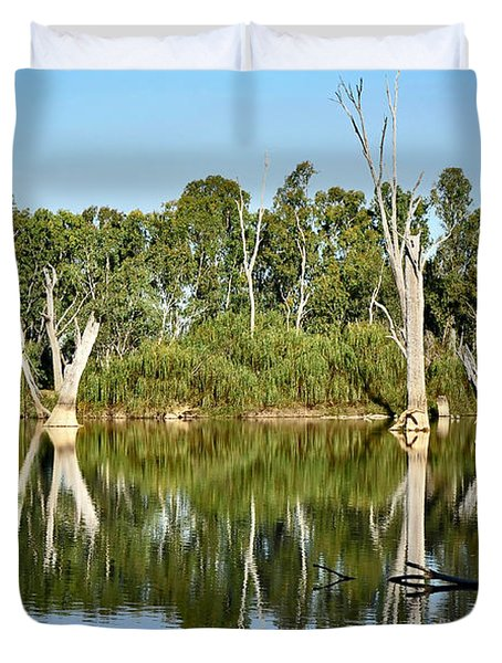 Tree Stumps In The River Duvet Cover by Kaye Menner