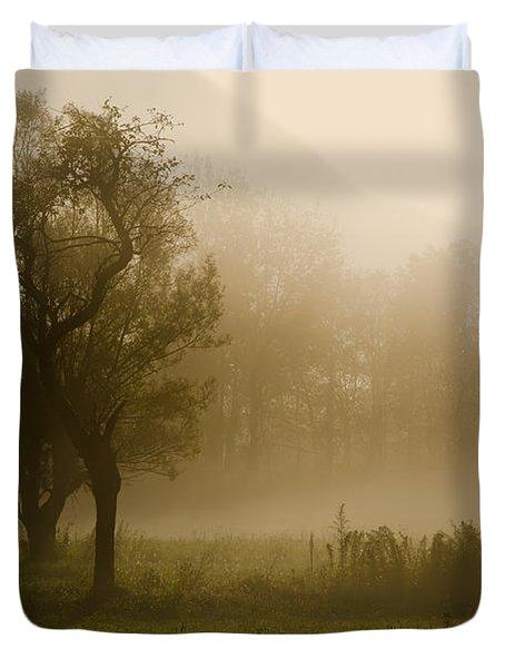 Trees And Fog Duvet Cover