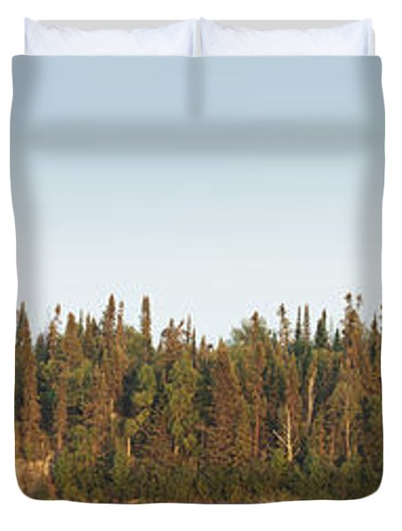 Duvet Cover featuring the photograph Trees Covering An Island On Lake by Susan Dykstra