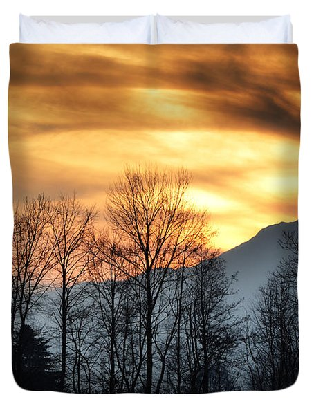 Trees With Orange Sky Duvet Cover