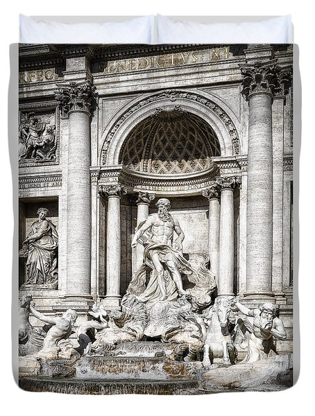 Trevi Fountain Detail Duvet Cover by Joan Carroll