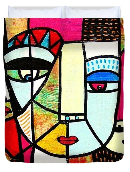 Tribal Batik Mask Spiritual Duvet Cover