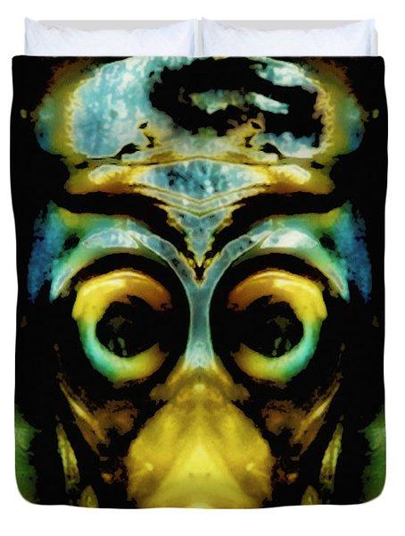 Tribal Mask Duvet Cover by Skip Nall