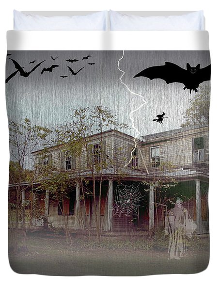 Trick Or Run Like Hell Duvet Cover by Brian Wallace