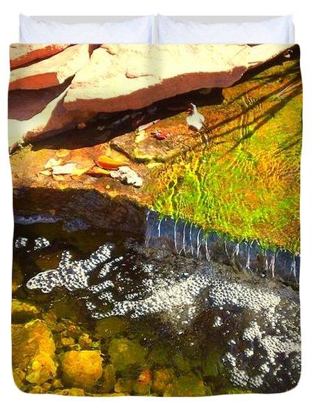 Trickle Waterfall Duvet Cover by Usha Shantharam