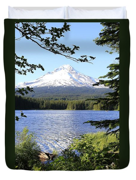Trillium Lake At Mt. Hood Duvet Cover by Athena Mckinzie