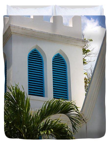 Duvet Cover featuring the photograph Trinity Presbyterian Church Tower by Ed Gleichman