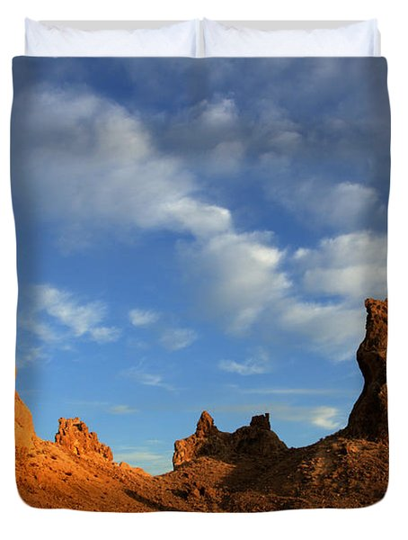 Trona Pinnacles Golden Hour Duvet Cover by Bob Christopher