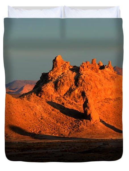 Trona Pinnacles Panorama Duvet Cover by Bob Christopher