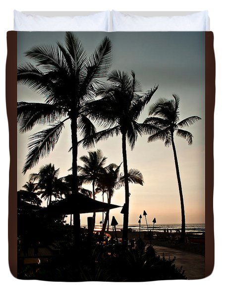 Duvet Cover featuring the photograph Tropical Island Silhouette Beach Sunset by Valerie Garner