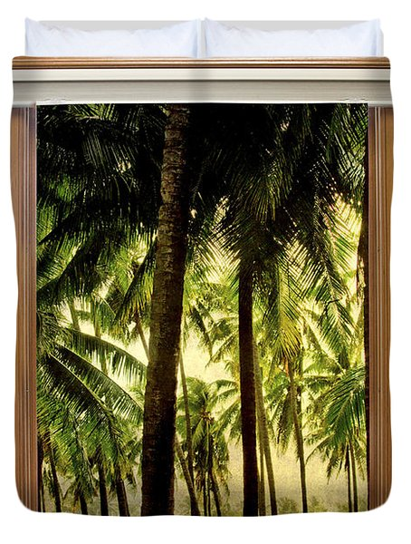 Tropical Jungle Paradise Window Scenic View Duvet Cover by James BO  Insogna