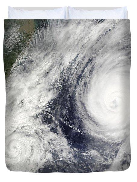 Tropical Storm Parma And Super Typhoon Duvet Cover