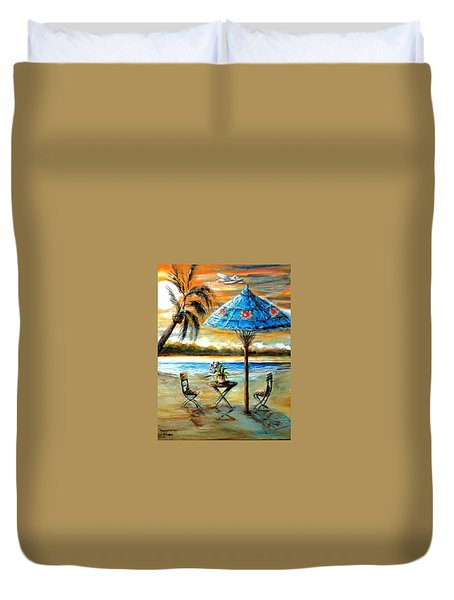 Tropical Sunset Duvet Cover by Bernadette Krupa
