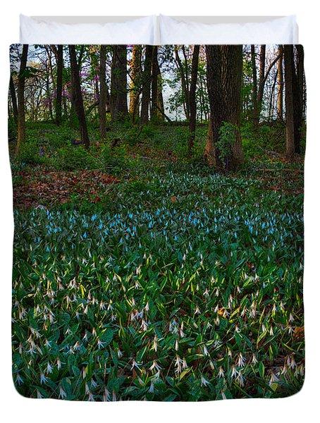 Trout Lilies On Forest Floor Duvet Cover by Steve Gadomski