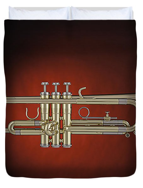 Trumpet Red Spotlight  Duvet Cover by M K  Miller