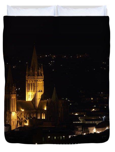Truro Cathedral Illuminated Duvet Cover by Brian Roscorla
