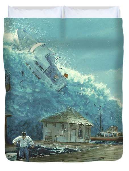 Tsunami Duvet Cover by Chris Butler and Photo Researchers