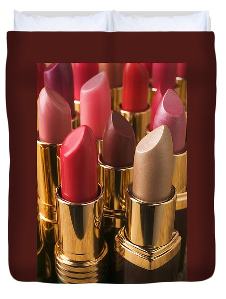 Tubes Of Lipstick Duvet Cover by Garry Gay