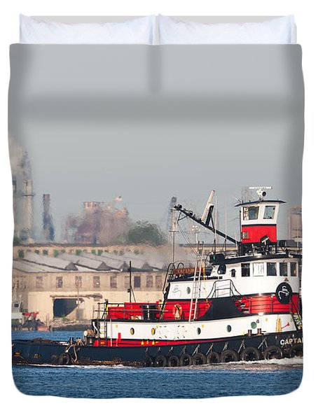 Tugboat Captain D In Newark Bay I Duvet Cover by Clarence Holmes