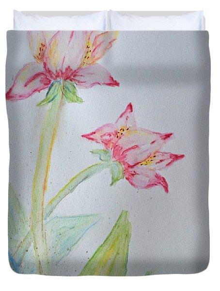Tulip Duo I  Duvet Cover by Debbie Portwood