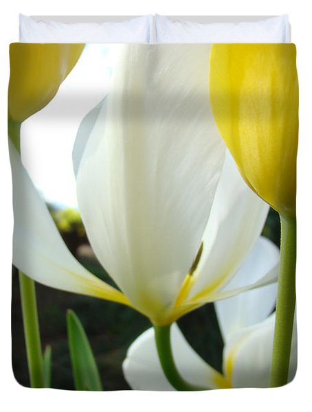 Tulip Flowers Art Prints Yellow White Tulips Floral Duvet Cover by Baslee Troutman