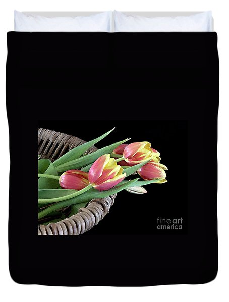 Tulips From The Garden Duvet Cover by Sherry Hallemeier