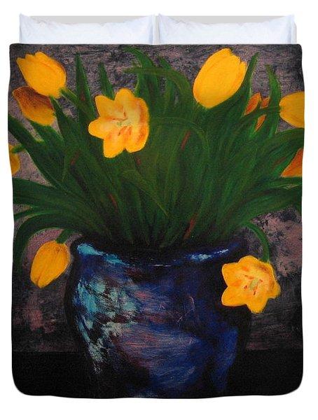 Tulips In Blue Duvet Cover