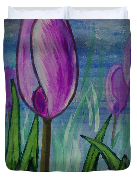 Tulips In The Mist Duvet Cover by Mick Anderson