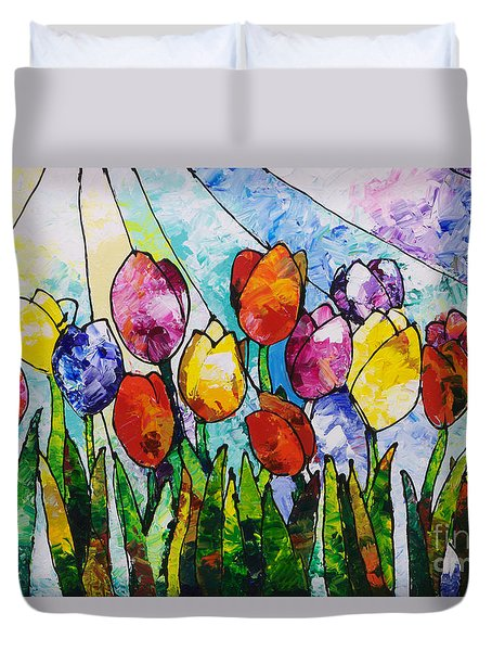 Tulips On Parade Duvet Cover