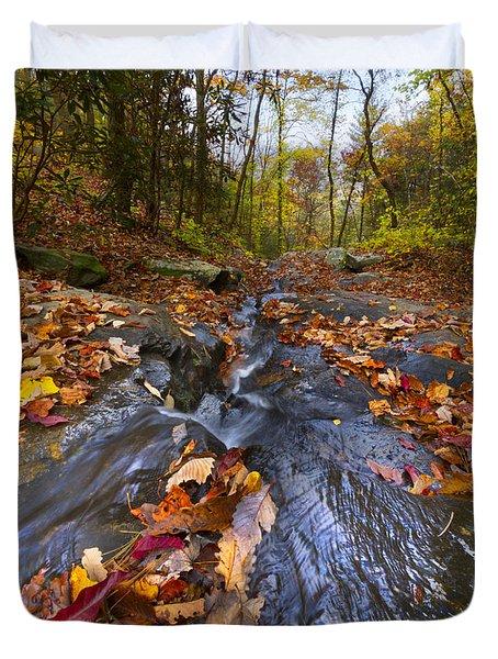 Tumbling Leaves Duvet Cover by Debra and Dave Vanderlaan