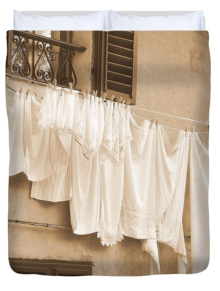 Tuscan Laundry Duvet Cover by Ramona Johnston