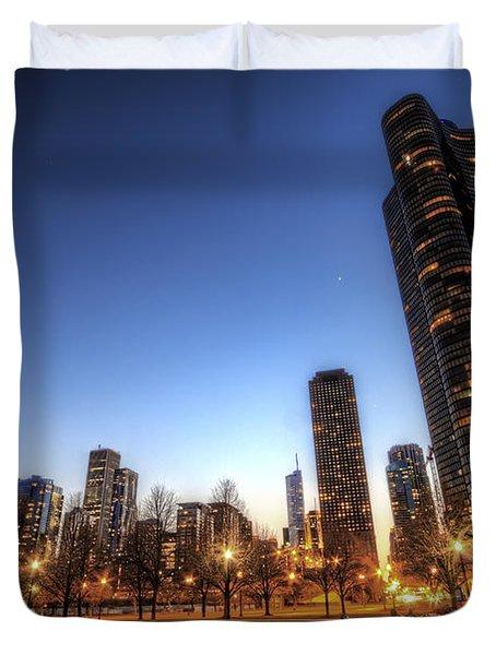 Twilight In Chicago Duvet Cover
