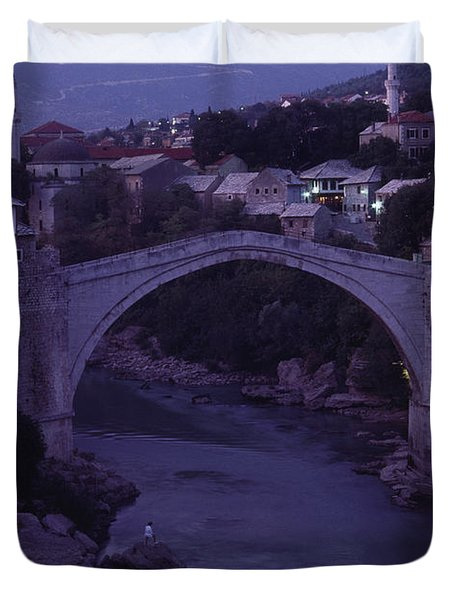 Twilight View Of A 15th-century Bridge Duvet Cover