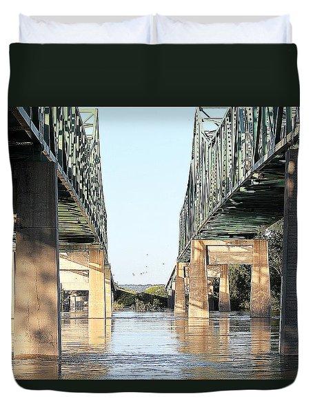 Duvet Cover featuring the photograph Twin Bridges by Elizabeth Winter