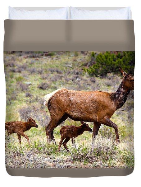 Twin Elk Calves Duvet Cover