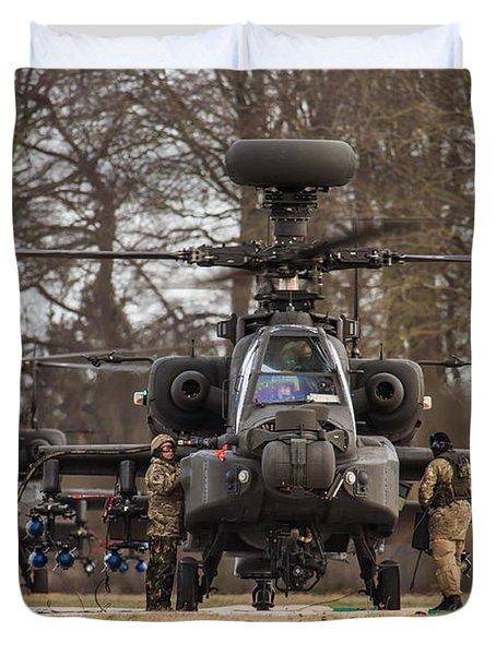 Two Ah64 Apaches Duvet Cover by Ken Brannen