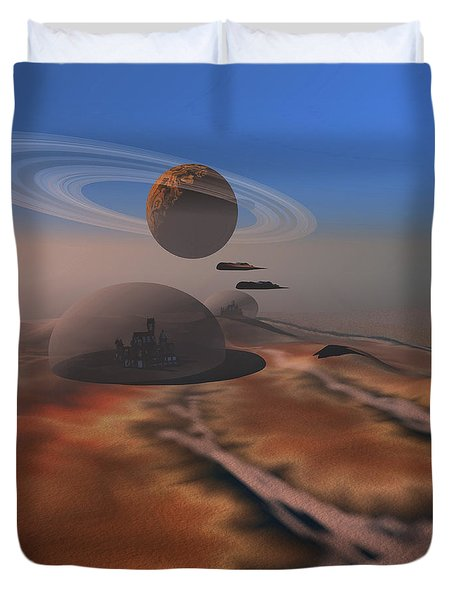 Two Aircraft Fly Over Domes Duvet Cover by Corey Ford