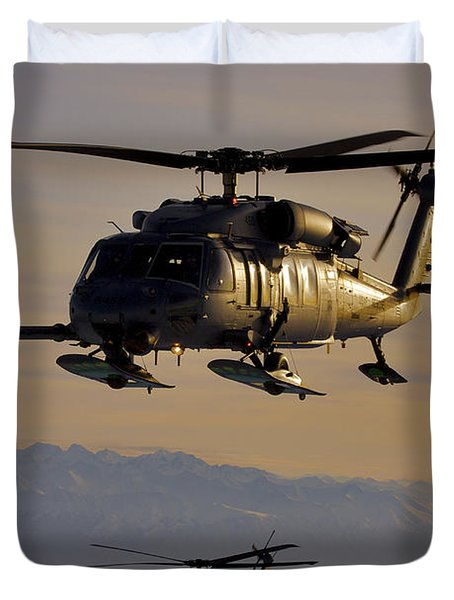 Two Alaska Air National Guard Hh-60g Duvet Cover by Stocktrek Images