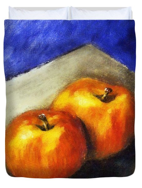Two Apples With Blue Duvet Cover