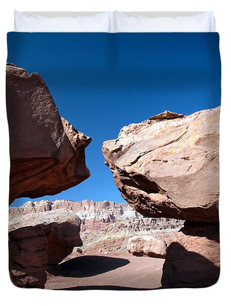Duvet Cover featuring the photograph Two Balancing Boulders In The Desert by Karen Lee Ensley