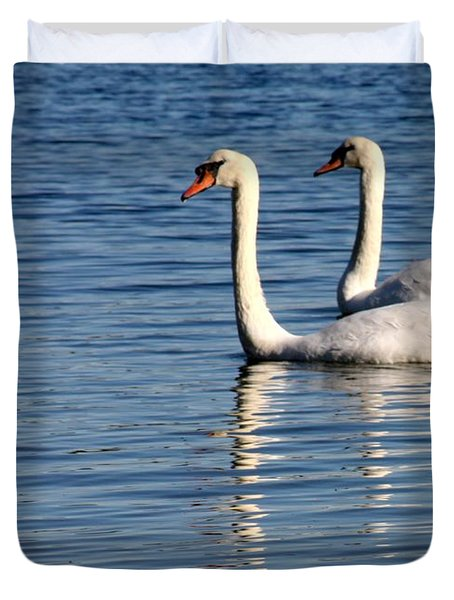 Two Beautiful Swans Duvet Cover by Sabrina L Ryan